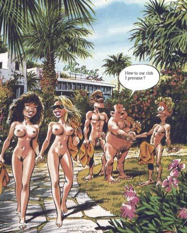Комикс нудистский пляж